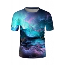 Creative Mens Short Sleeve Round Neck Abstract Painting 3D Pattern Relaxed Tee Top in Blue