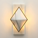 Rhombus and Rectangle Flush Wall Sconce Contemporary Stone LED White Wall Mount Light Fixture