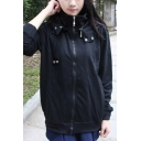 Girls Popular Long Sleeve Stand Collar Zipper Front Solid Color Loose Hoodie in Black