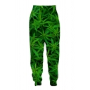 Unique Designer Green Elastic Waist All Over 3D Leaf Printed Cuffed Tapered Fit Sweatpants