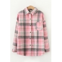 Fancy Womens Long Sleeve Lapel Collar Checkered Printed Wool Relaxed Fit Shirt