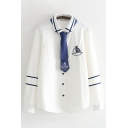 Preppy Girls Long Sleeve Lapel Collar Button Down Boat Embroidered Stripe Printed Curved Hem Relaxed Fit Shirt with Tie