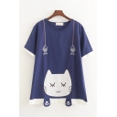 Leisure Lovely Girls Short Sleeve Round Neck Cat Fish Paw Patterned Contrasted Relaxed T Shirt