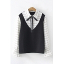 Trendy Ladies Long Sleeve Lapel Collar Bow Tied Neck Plaid Patterned Shirt Plain Knitted Relaxed Tank Two Piece Set