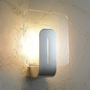 Clear Glass Round Corners Square Wall Sconce Simplicity Silver LED Wall Mounted Lamp for Bathroom