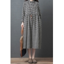 Vintage Cute Girls Roll Up Sleeve Lapel Collar Button Up Plaid Printed Linen and Cotton Maxi Oversize Shirt Dress