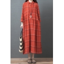 Vintage Casual Womens Long Sleeve Lapel Neck Plaid Patterned Ruched Patchwork Cotton and Linen Maxi Oversize Shirt Dress