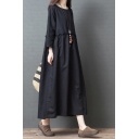 Vintage Girls Long Sleeve Round Neck Stringy Selvedge Contrast Piped Linen and Cotton Maxi Oversize Black Dress