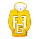 Cool Boys Long Sleeve Drawstirng Anime Peripheral Letter FG Print Contrast Piped Pouch Pocket Relaxed Hoodie in Yellow