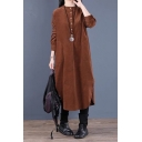 New Trendy Womens Solid Color Long Sleeve Crew Neck Button Up Corduroy Linen Curved Hem Long Oversize Dress