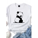Leisure Girls Roll Up Sleeve Crew Neck Panda Patterned Fitted T-Shirt