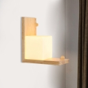 Asia Square White Glass Wall Mount Light Fixture LED Wall Sconce Lighting in Beige with Wood Frame
