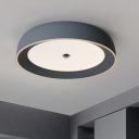 Aluminum Round Ceiling Flush Mount Simple LED Flushmount Light in Grey/Coffee for Bedroom, 14