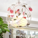 Korean Garden Egg Pendant Chandelier 2 Heads White Glass Hanging Light Fixture with Metal Bird Nest