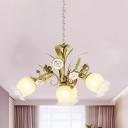 Bloom Dining Room Chandelier Light Countryside White Glass 4/7/9 Lights Green Down Lighting Pendant