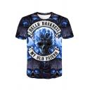 Cool Street Short Sleeve Crew Neck Letter HELLO DARKNESS Skull Graphic Regular Fit T Shirt