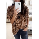 Fashion Womens Short Sleeve Round Neck Leopard Printed Relaxed Fit T-Shirt in Brown