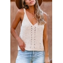 Chic Street Ladies Sleeveless V-Neck Hollow Out Knitted Relaxed Fit Cami Top in White