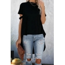 Fashionable Womens Cut Out Sleeves Crew Neck Solid Color High Low Hem Long Loose Fit Tee in White
