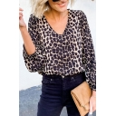 Fashionable Womens Blouson Sleeve V-Neck Leopard Patterned Relaxed Fit Blouse Top in Khaki