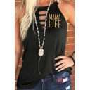 Popular Womens Sleeveless Round Neck Letter MAMA LIFE Hollow Out Relaxed Tank
