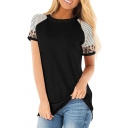 Leisure Womens Short Sleeve Crew Neck Stripe Leopard Printed Loose Fit T Shirt