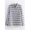 Preppy Looks Long Sleeve Lapel Collar Button Down Cartoon Avocado Embroidery Checkered Print Relaxed Shirt