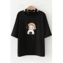 Cute Girls Short Sleeve Round Neck Cartoon Print Cut Out Loose Tee Top