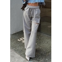 Ladies Leisure Drawstring Waist Cut Out Rolled Edge Long Length Wide-Leg Pants in Gray