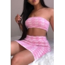 Chic Fancy Ladies Sleeveless Strapless Houndstooth Printed Knit Fuzzy Crop Tube & Short Tight Skirt in Pink