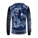 Popular Mens Long Sleeve Drawstring Tiger 3D Pattern Loose Hoodie in Blue
