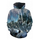 Streetwear Boys Blue Long Sleeve Drawstring Wolf 3D Printed Relaxed Fit Hoodie with Pocket