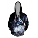 Black Stylish Long Sleeve Drawstring Zipper Front Anime Wolf 3D Printed Loose Fit Hoodie for Boys