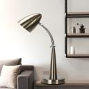 LED Metal Task Lighting Industrial Silver Finish Bullate Living Room Adjustable Reading Lamp