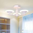 3/4 Heads Bedroom Semi Flush Mounted Light Modernism White LED Radial Flushmount with Round Acrylic Shade, White/Warm Light