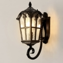 1 Light Metallic Wall Sconce Rustic Black/Brass Lantern Outdoor Corner Wall Lamp with Water Glass Shade