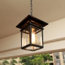 Clear Glass Lantern Hanging Light Countryside 1 Bulb Balcony Ceiling Pendant Lamp in Brass/Black
