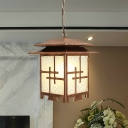 Opal Glass Coffee Pendulum Light Lantern 1-Head Farmhouse Hanging Ceiling Lamp for Corridor