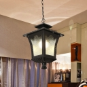 Black/Bronze Lantern Suspension Pendant Farmhouse Water Glass 1-Head Outdoor Hanging Light Fixture