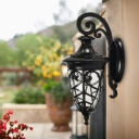 1 Head Wall Mount Light Rustic Outdoor Sconce Light Fixture with Urn Clear Seeded Glass Shade in Black