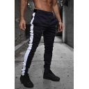 Simple Gym Boys Drawstring Waist Contrasted Side Ankle Length Fitted Sweatpants
