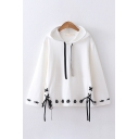 Basic Preppy Girls Drawstring Cat Pattern Lace Up Sides Relaxed Fit Hoodie