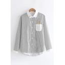 Kawaii Girls Long Sleeve Lapel Collar Button Down Rabbit Embroidered Pocket Stripe Print Curved Hem Relaxed Shirt