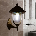 Urn Outdoor Wall Mount Light Fixture Country Clear Glass 1-Bulb Black/Brass Finish Sconce Lamp