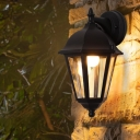 Clear Glass Urn Sconce Light Lodges 1 Bulb Corner Outdoor Wall Mount Fixture in Black