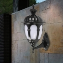 Metal Black Wall Lighting Urn Shaped 1 Head Lodges Sconce with Cream Plastic Shade