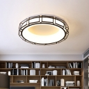 Circular Flush Mount Lamp Simplicity Acrylic White/Black/Grey LED Ceiling Fixture with Geometric Cage for Bedroom