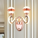 2 Heads Bathroom LED Wall Lamp Minimalist Rose Gold Shiny Arm Designed Wall Sconce with Dome Metal Shade