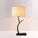Fabric Drum Night Lamp Minimalist 1-Light Table Light in Black for Bedroom with Curved Arm