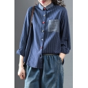 Fancy Trendy Ladies Long Sleeve Lapel Collar Colorful Button Up Striped Patched Pocket Contrasted Linen and Cotton Relaxed Fit Shirt